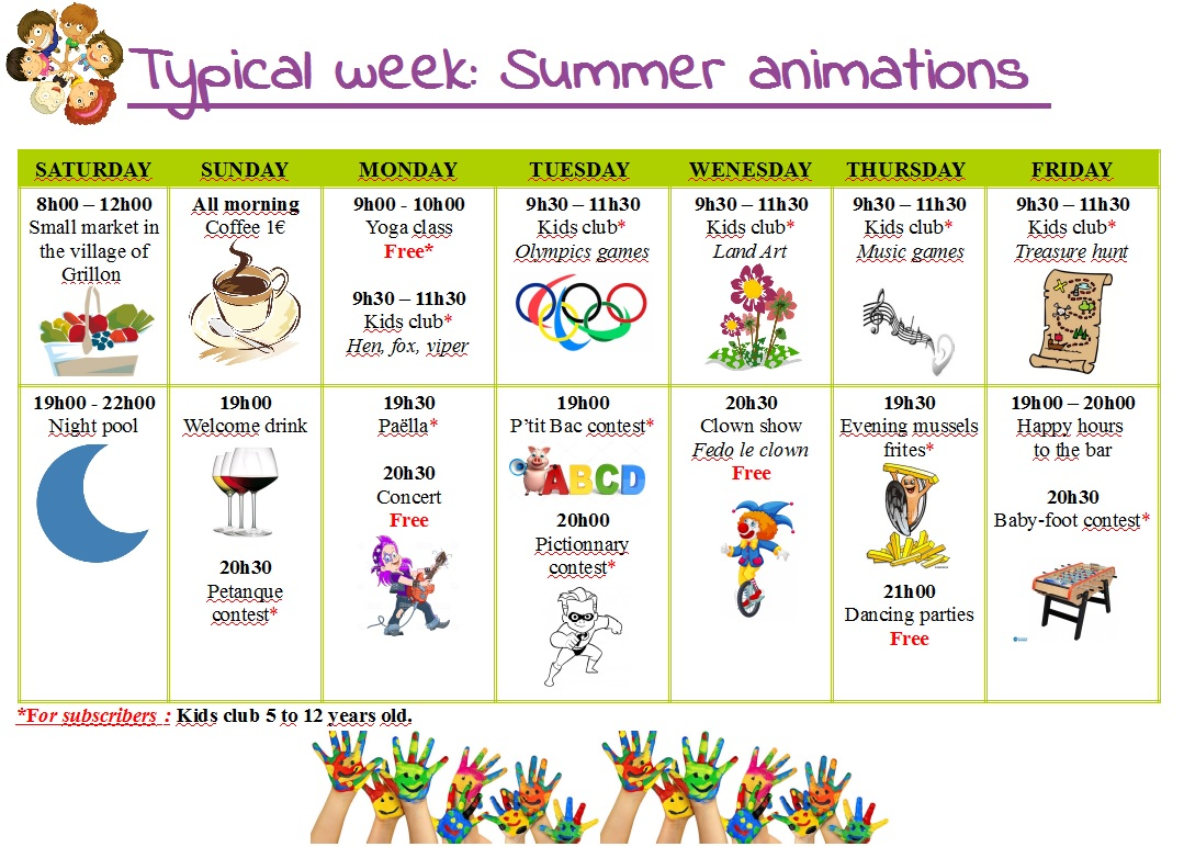 Semaine type animations ete anglais